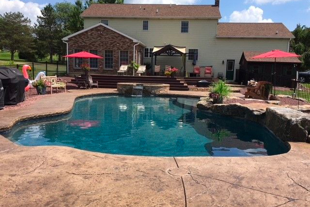 Decorative concrete pool design