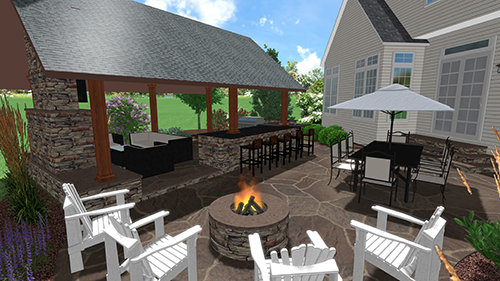 3D design for stamped concrete project with landscaping